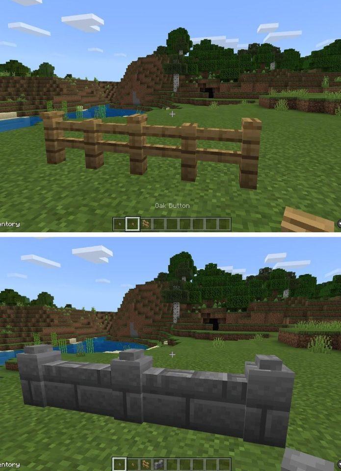 Button Decor On Fences In 2020 Minecraft Farm Minecraft Plans Minecraft Crafts