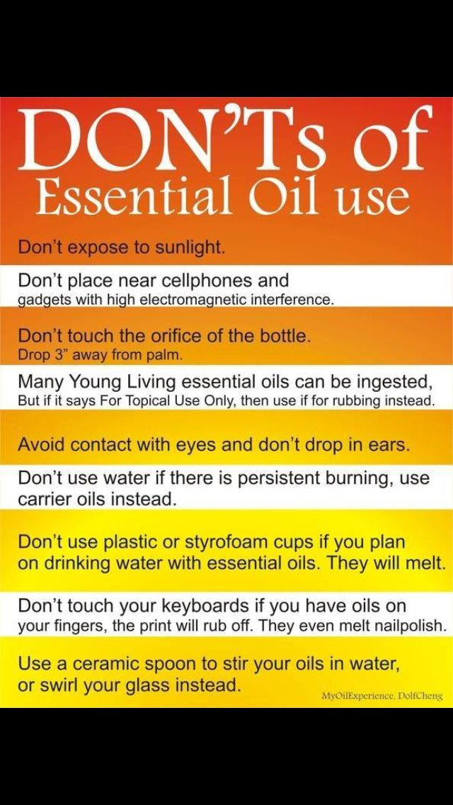 Don'ts of EO use. For more info about healing with essential oils contact Michelle, YL independent distributor, at michellelovesYLEO@gmail.com.