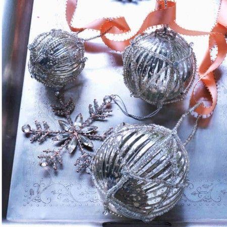 Beaded Mercury Glass Baubles The Christmas Table Pinterest