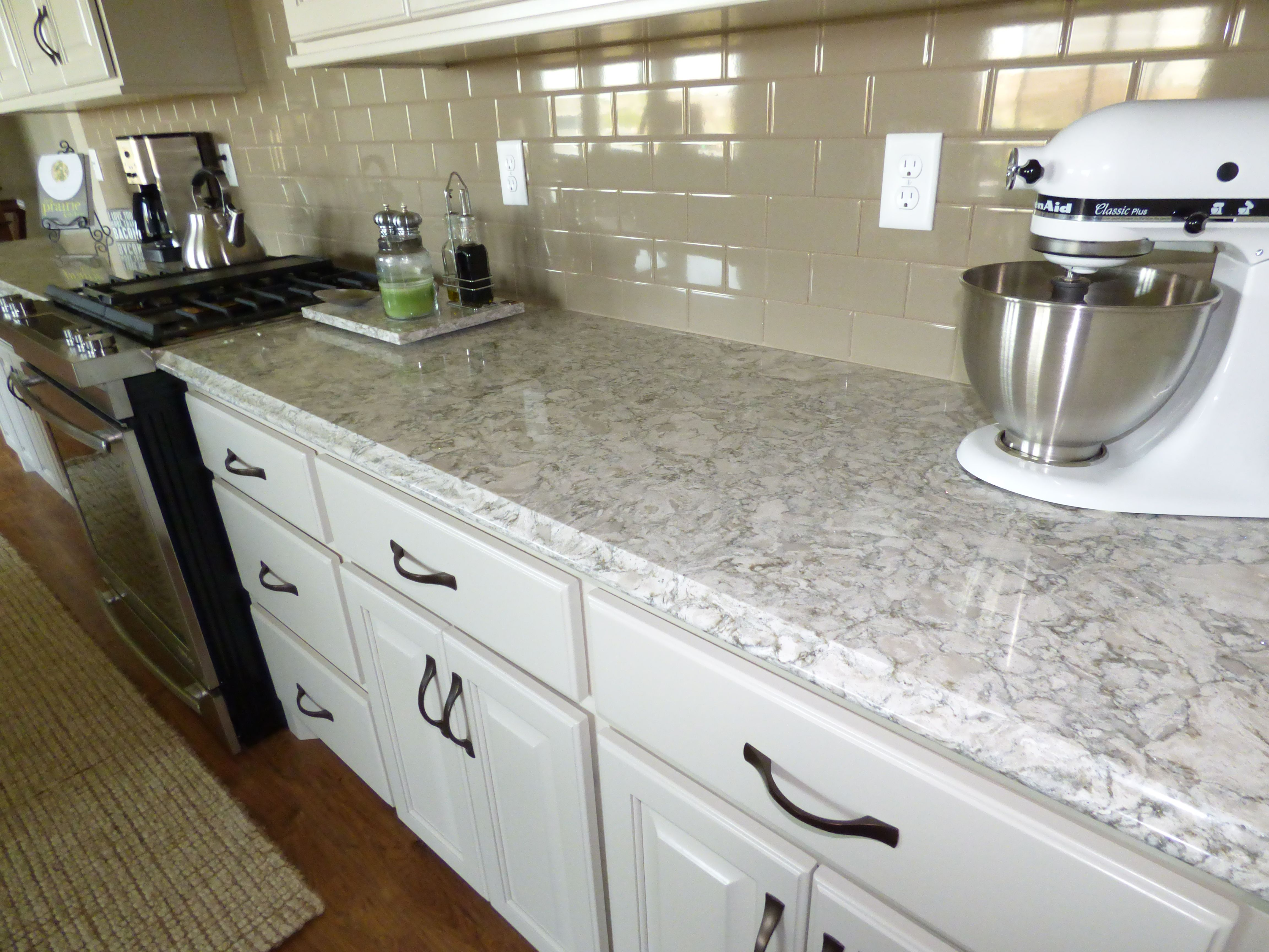 Kitchen with berwyn quartz kitchen island and perimeter What is the whitest quartz countertop