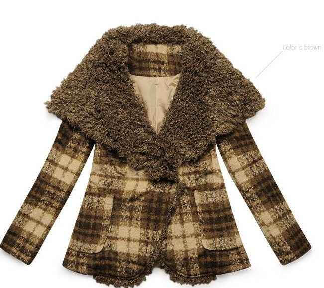 Khaki Big Fur Lapel Plaids Thicken Woolen Coat  $58.50