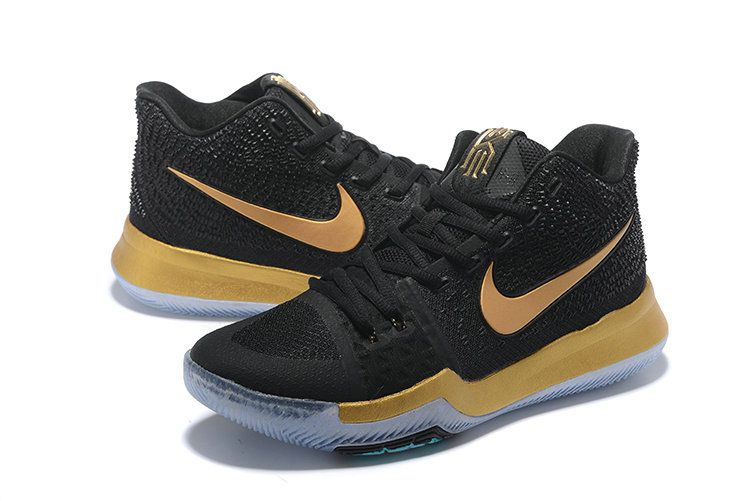2017-2018 Newest And Cheapest Championship Black Gold Kyrie 3 III Shoe