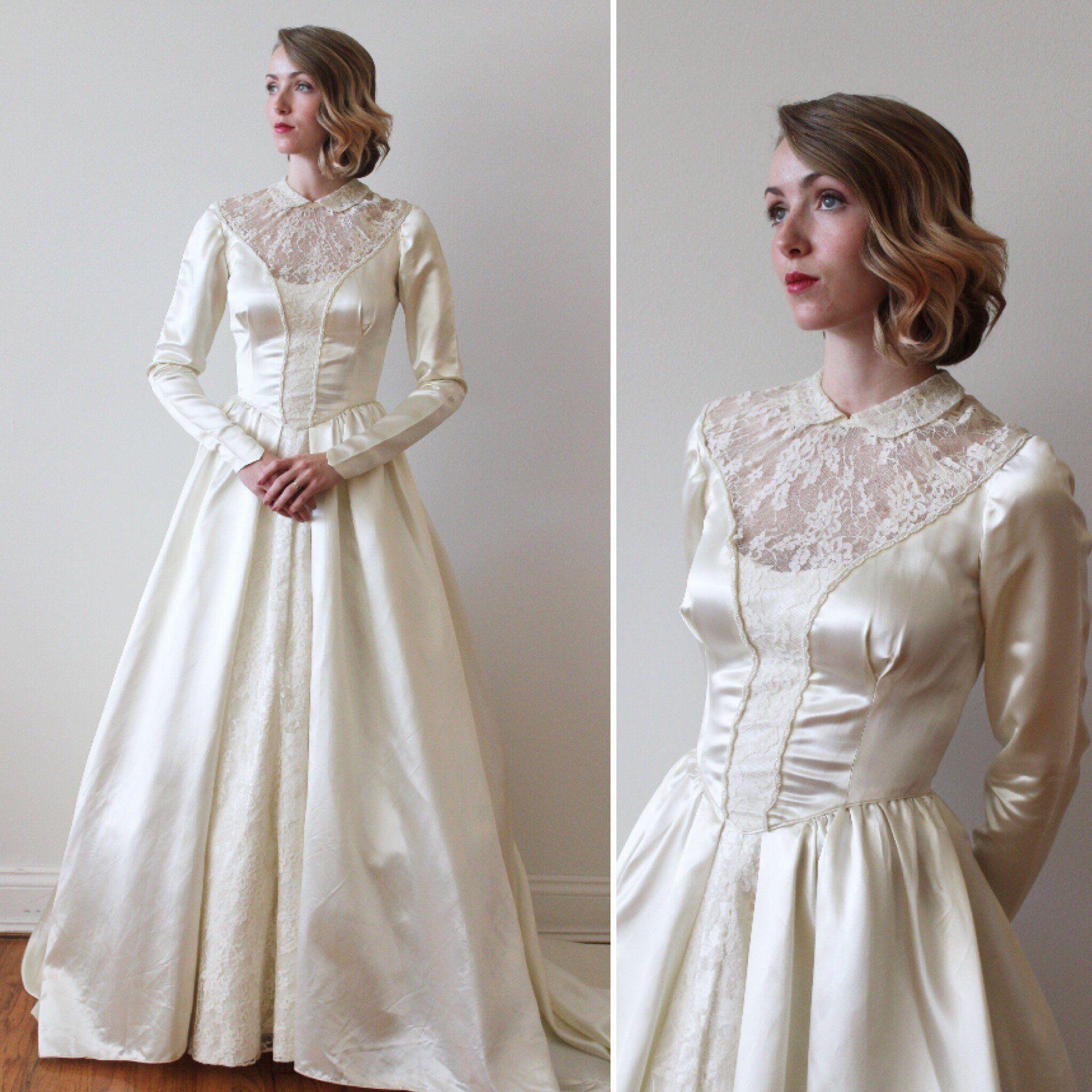 Vintage 1940s Slipper Satin Long Sleeved Wedding Dress