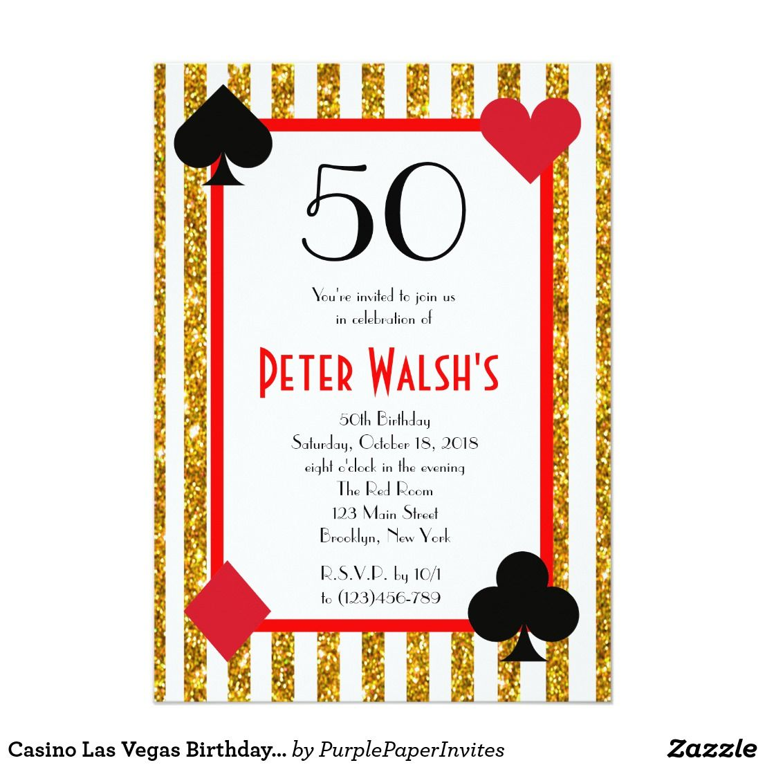 Casino Las Vegas Birthday Invitation   casino   Pinterest   Vegas ...