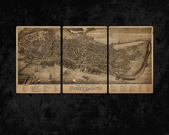 Vintage Map Of Portland Maine Metal Triptych 37x17 Free