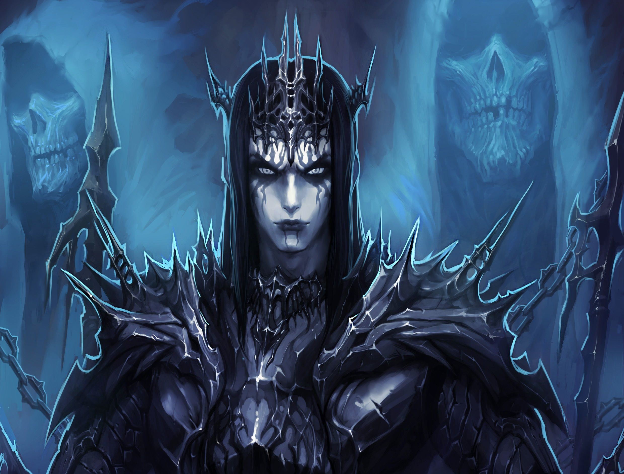 Fantasy Demon Fantasy Man Armor Blue Dark Spikes Skull