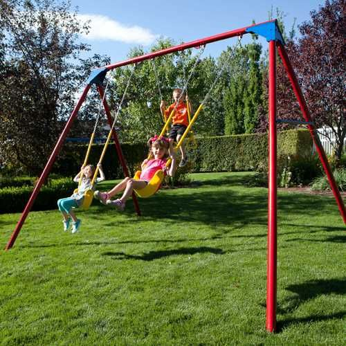 Heavy Duty A Frame Metal Swing Set 90200 Primary Colors 90240