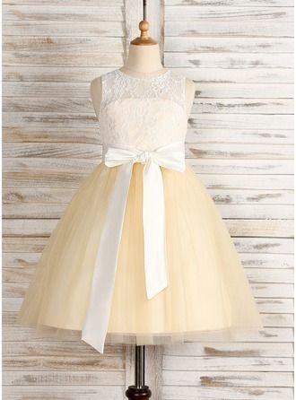 02a99e561041 A-Line Princess Knee-length Flower Girl Dress - Tulle Lace ...