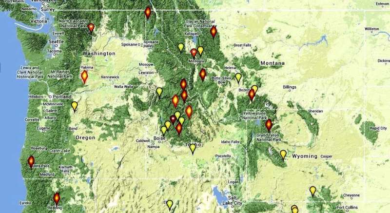 Large Wildfire Map.Map Of 2013 Wildfires Large Uncontained Wildfires In The Northwest