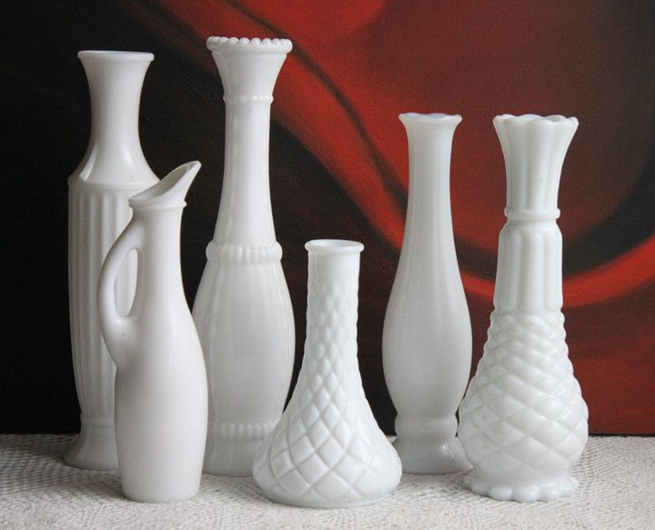 Vases. Milk Glass Vases. Six Various Design Vases