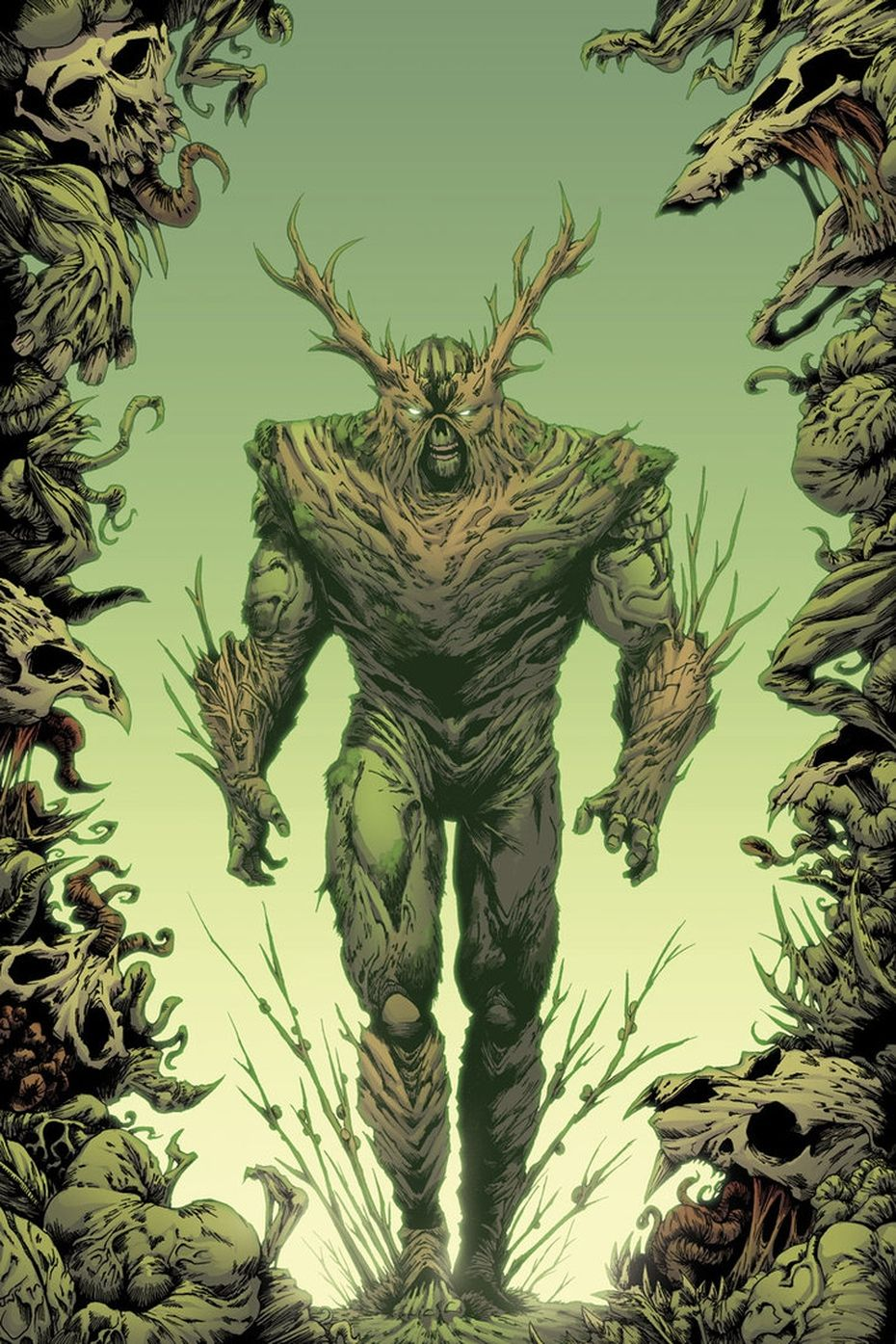 Swamp Thing (Alec Holland) is a fictional character, a superhero in the DC Comic universe. Created by Len Wein and Bernie Wrightson, He first appeared in House of Secrets #92 in 1971. He is an elemental creature who shares a connection to all plant life on the planet Earth through a network called the Green. He is a mass of vegetable matter that absorbed the memories and personality of Alec Holland, a botanist who died in a swamp shortly after creating a hormonal Bio-Restorative Formula for plan #swampthing