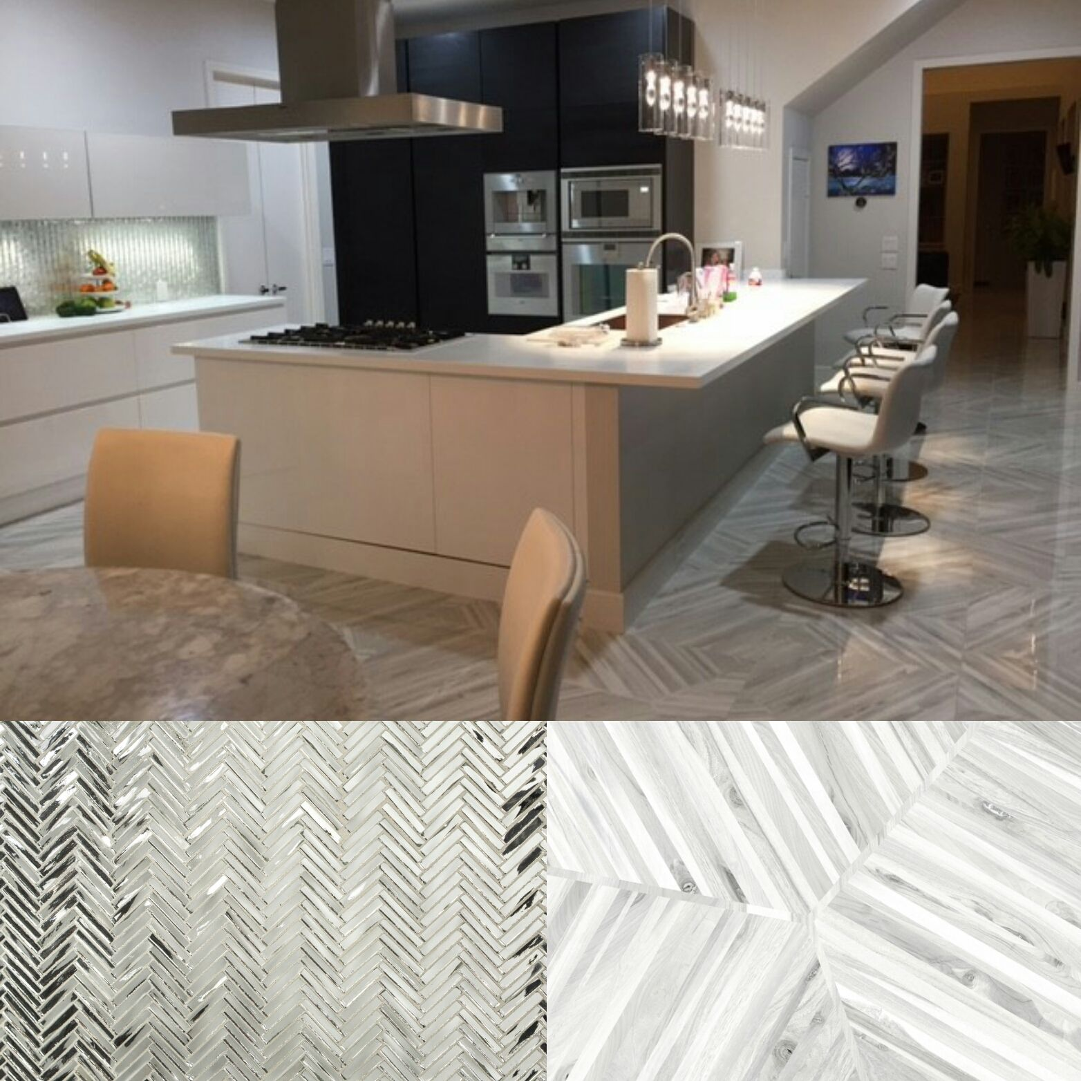 Visual eye candy how to tile a herringbone floor part i - Dallas Homeowners Play Up The Greys With Our Kauri White Porcelain Floor Tile And Glamourous Hip