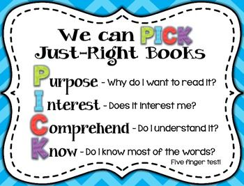Pick JustRight Books Posters   Book Posters Third Grade