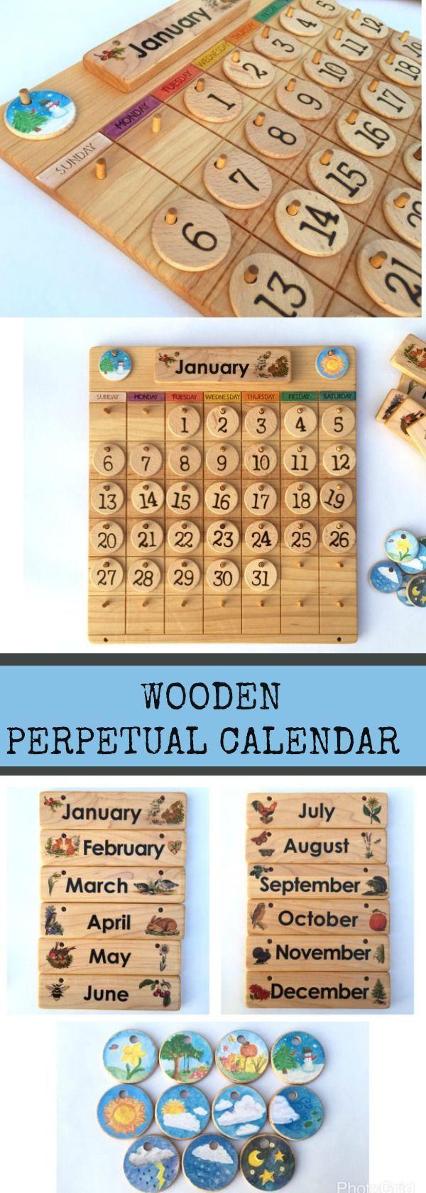 Wooden Perpetual Calendar Preschool Preschoolers Prek Calendar