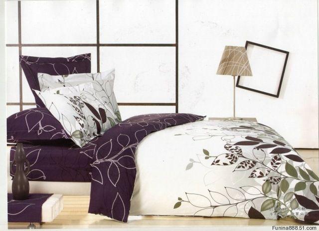 Purple white leaf design queen bed quilt duet cover sets pc