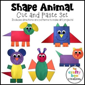 Shape Animal Crafts Bundle Construction paper, Dog cat and - copy coloring pages of school buildings