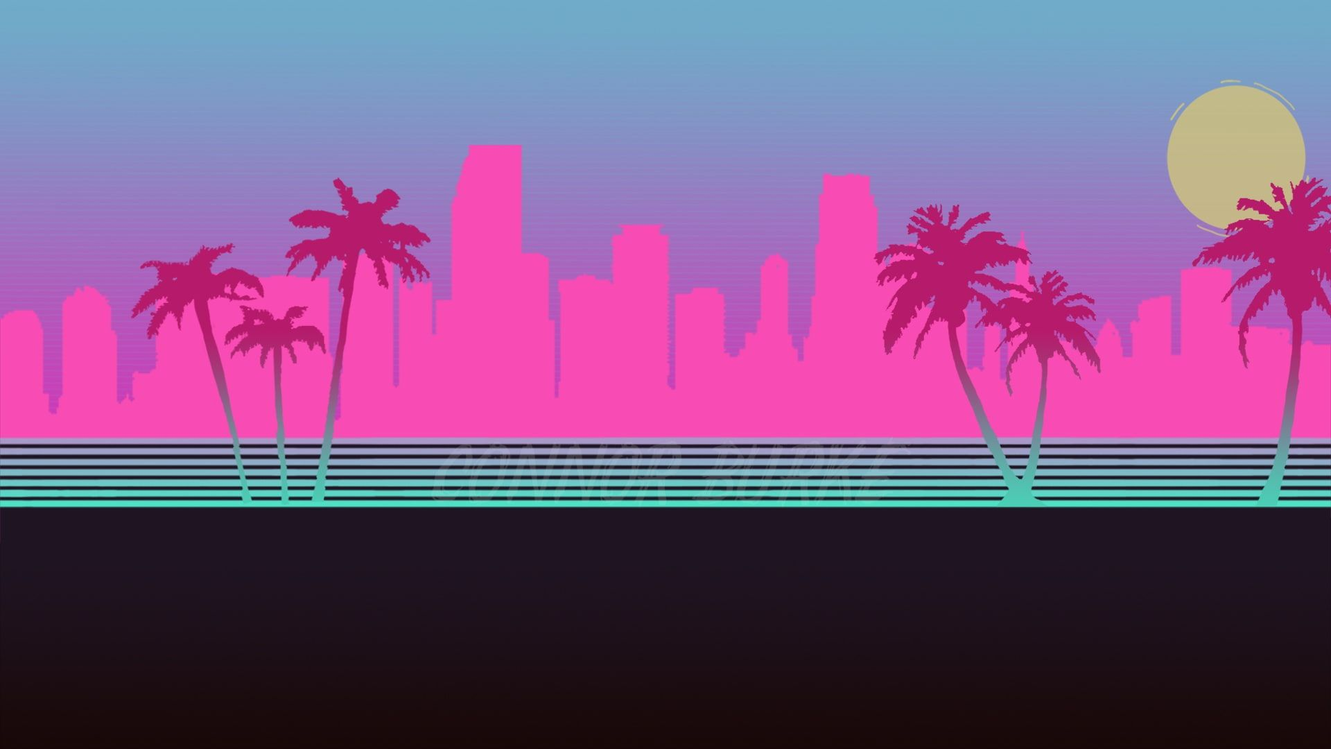 The City Neon Palm Trees Silhouette Background Hotline Miami
