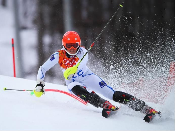 DAY 4:  Sara Hector of Sweden in action during the Alpine Skiing Women's Super Combined Slalom