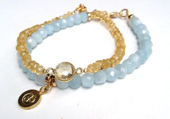 Aquamarine Bracelet Gold Vermeil OM Charm Semi by LoveandLulu