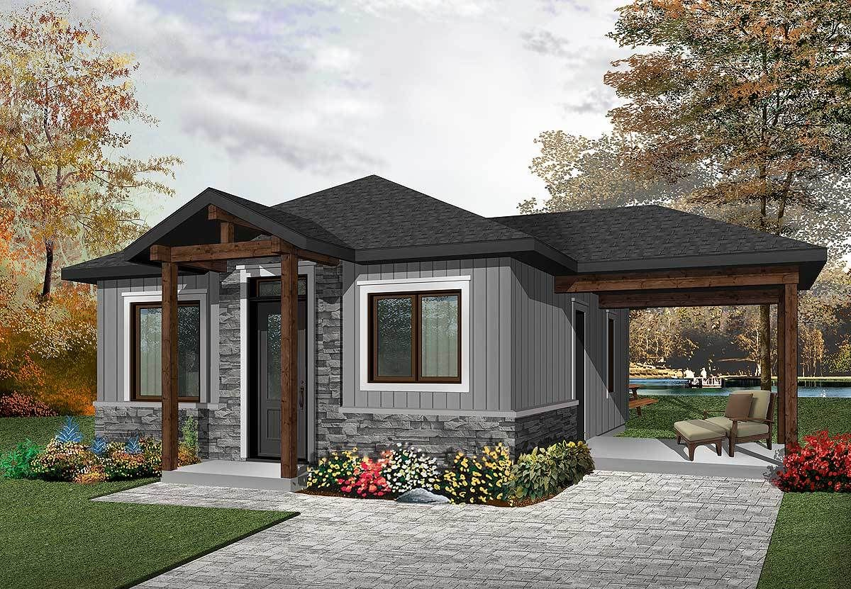 Two Bedroom Tiny Cottage 22405dr 02 Tiny Cottage Small Cottage House Plans Drummond House Plans