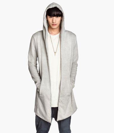 Light grey open cardigan style hooded sweatshirt.  d58dbd56a