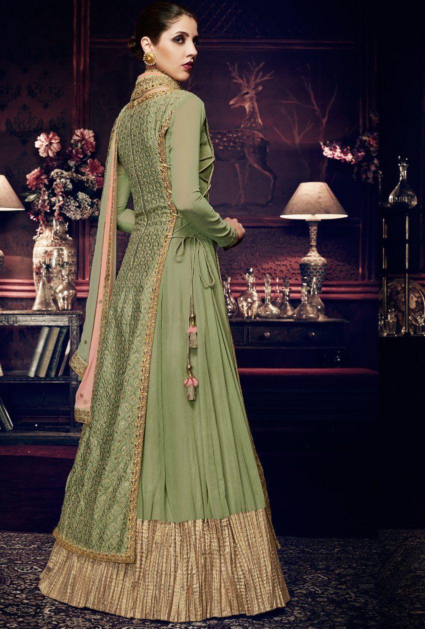 d951d64aa6a Featuring pista green designer party wear dress. FABRIC  Handloom ...