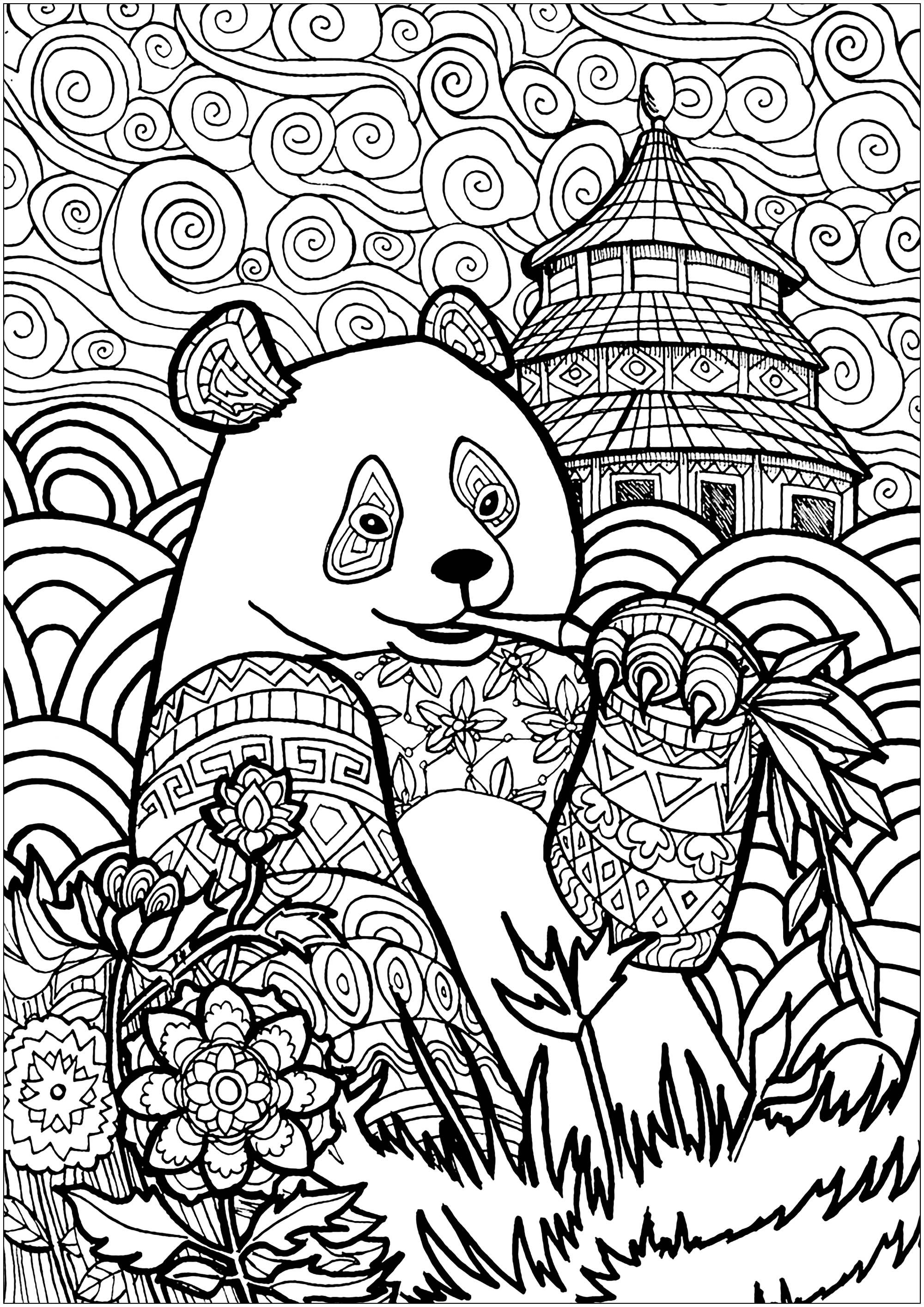 Panda Eating Bamboo With Beautiful Patterns And Abstract Sky From The Gallery Pandas Animal Coloring Pages Mandala Coloring Pages Turtle Coloring Pages
