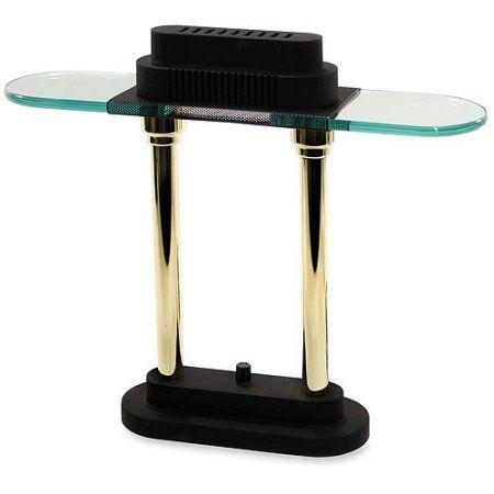 Desk Lamp Glass Shade: Ledu 15 inch Halogen Brass/Black Desk Lamp with Long Glass Shade, Multicolor,Lighting