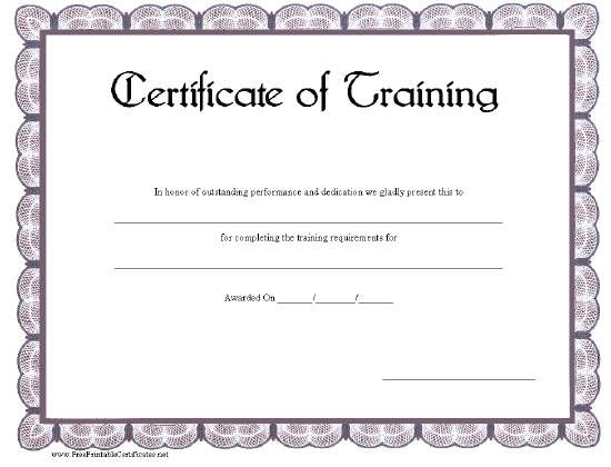 This printable certificate of training has a blue-gray scalloped ...