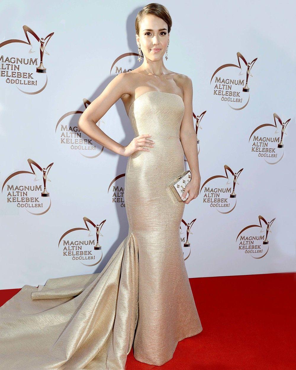 Jessica alba in my client romona kevezaus stunning metallic dress