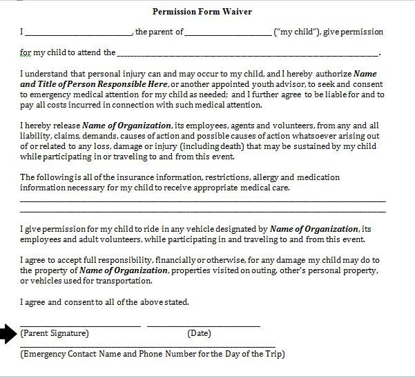 Parental Consent Form Template School Field Trip Permission Form