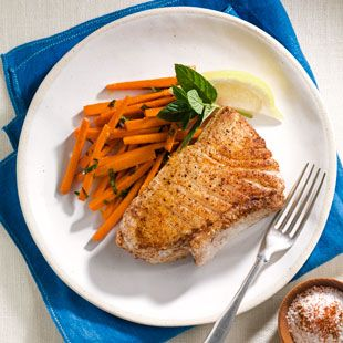 Moroccan Halibut with carrots. I served it with couscous.