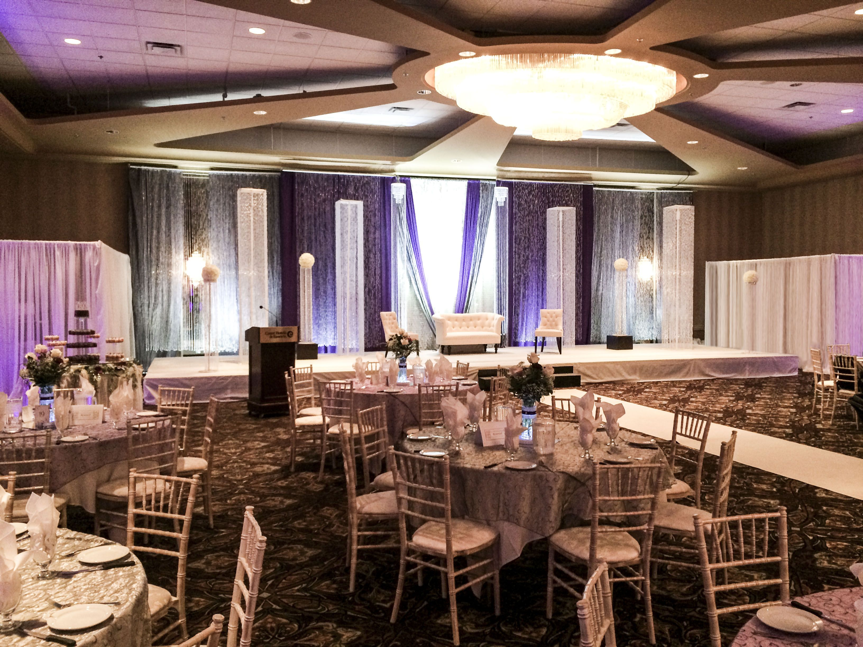 wedding stage decoration pics%0A Grand Elegant Bling Wedding  lachefs  lachefsdecor  decor  purple  silver   bling
