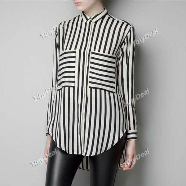 Striped Chiffon Casual Basic Long Sleeve Blouse for Women Girl Ladies  NWS-167844