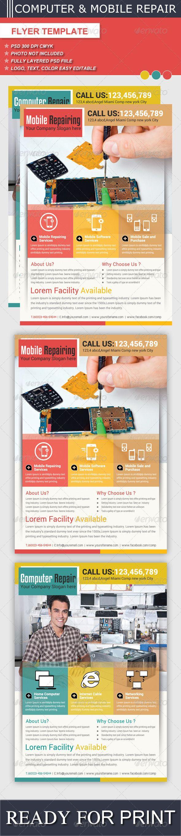 Computer Mobile Repair Flyer Template – Computer Repair Flyer Template