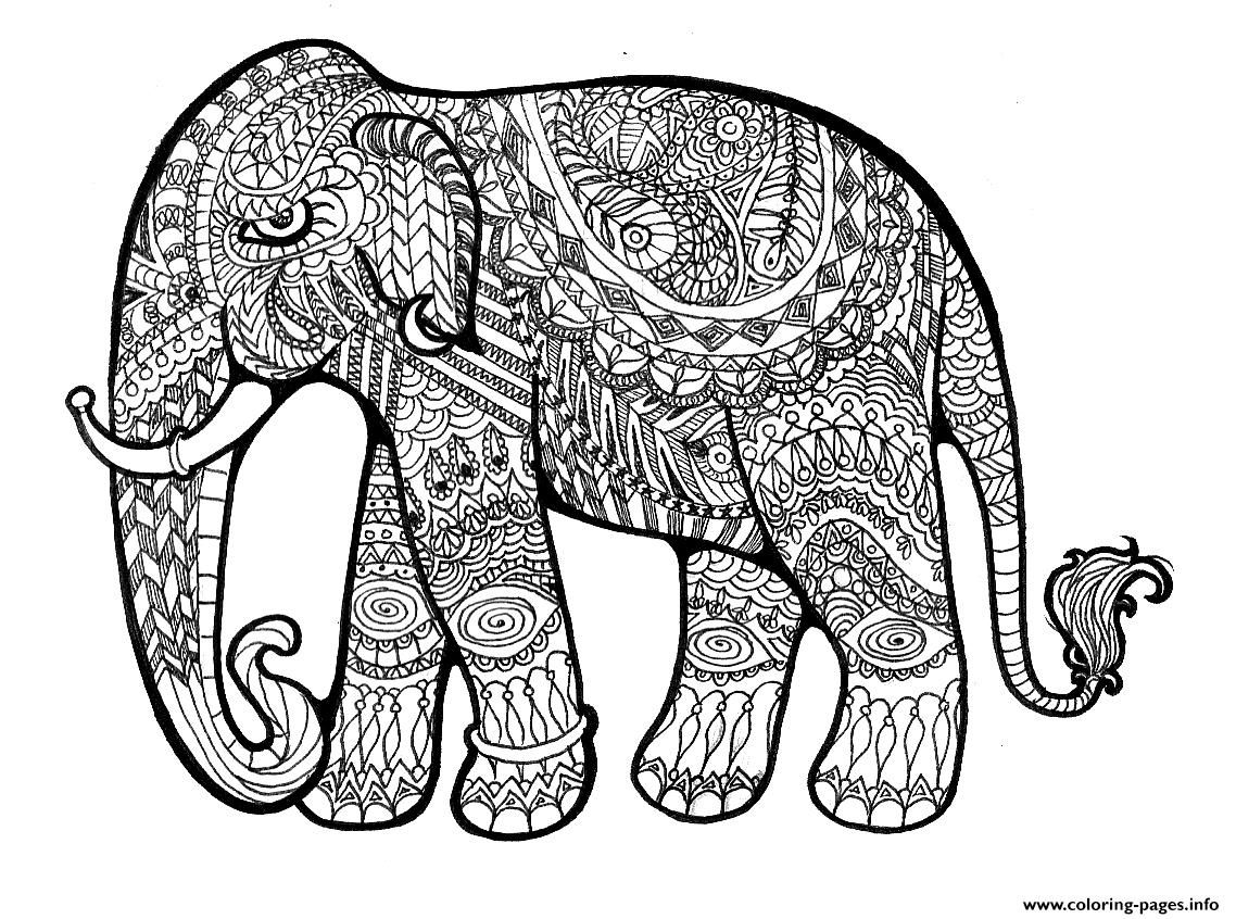 Print elephant complex for adults print out hard coloring pages