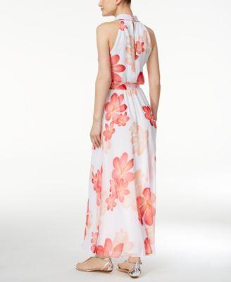 1a78c206709 Calvin Klein Floral-Print Halter Maxi Dress - Pink 10
