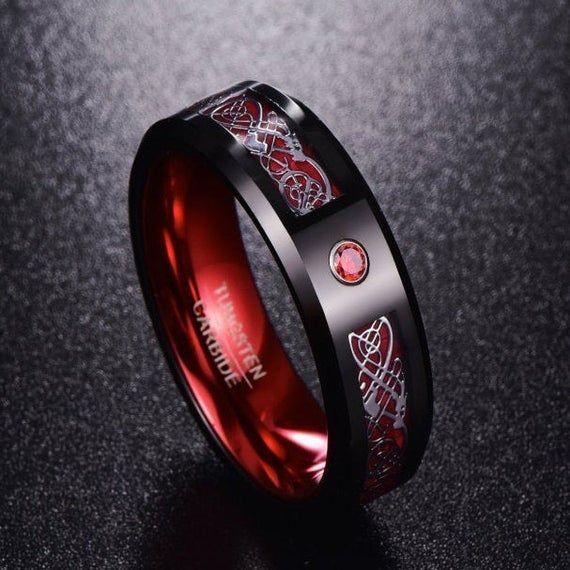 2019 New Arrival Silver Dragon Pattern Red Zircon Men Rings 100% Tungsten Carbide Wedding Bands Anillos Para Hombres Ring