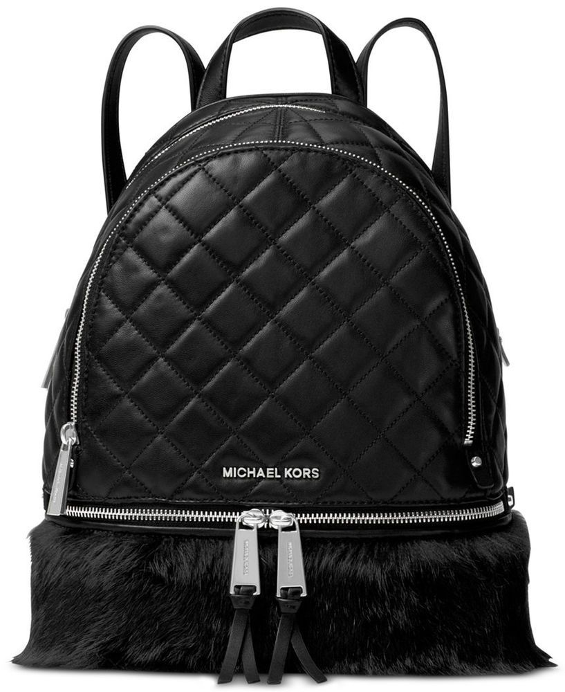 b4b022b7730f NWT MICHAEL Michael Kors Rhea Black Quilted Leather Fur Medium Backpack Bag  New #MichaelKors #Backpack
