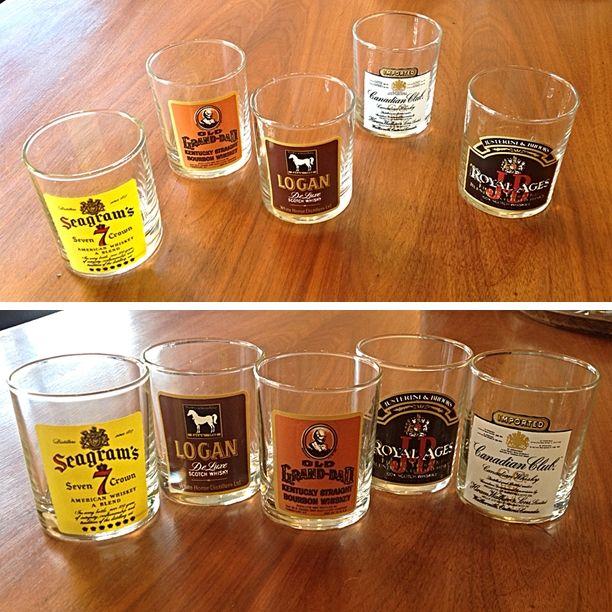 #Vintage #MidCenturyModern #Whiskey Glass Set With Decals -Pricing & Info @Link Below.    Rocket Century  - St. Louis, MO