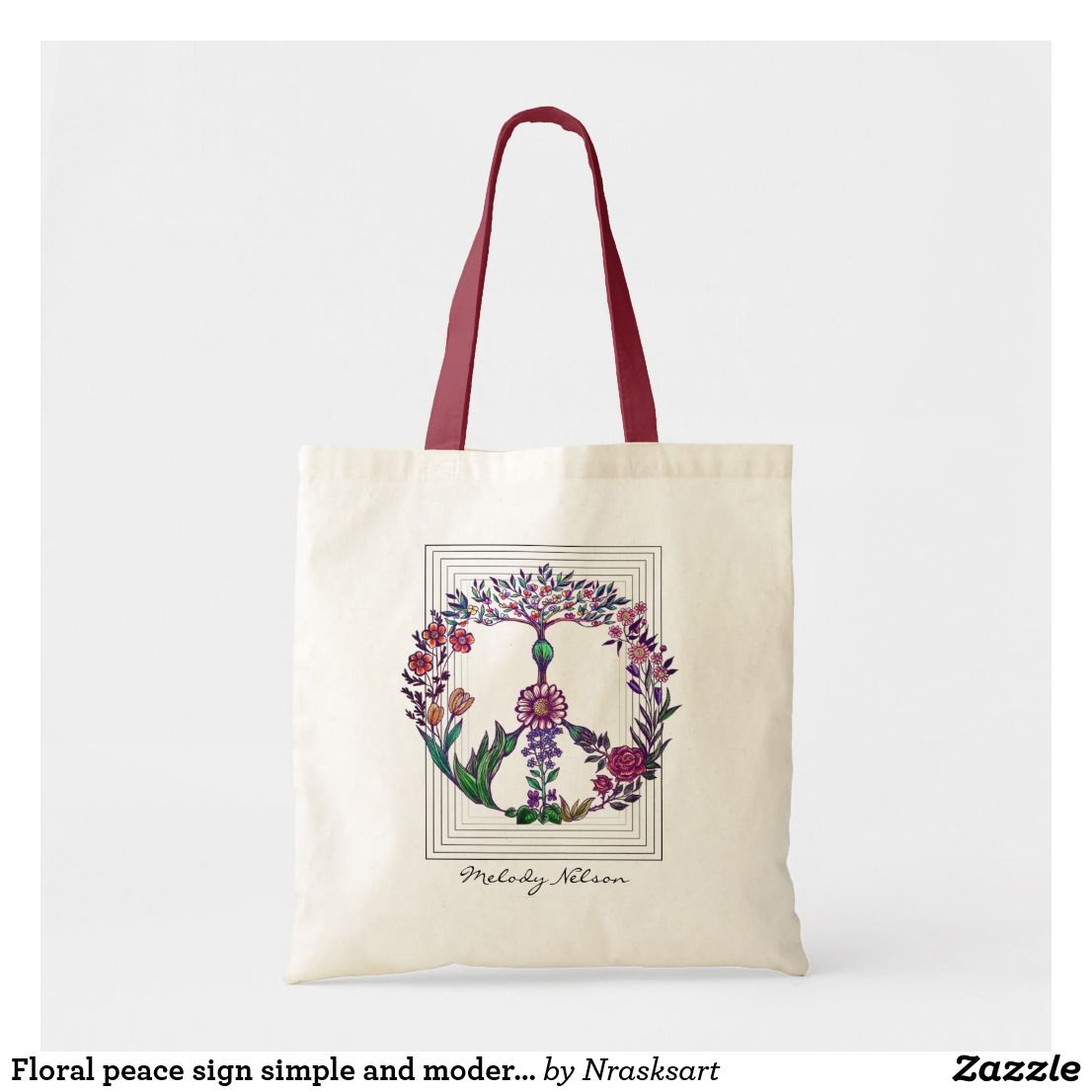 Floral Peace Sign Simple And Modern Flower Power Tote Bag Zazzle