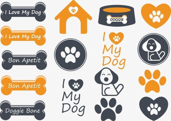 Cartoon Dog And Bone Material Png And Vector Dog Icon Pet Logo Design Pet Scrapbook