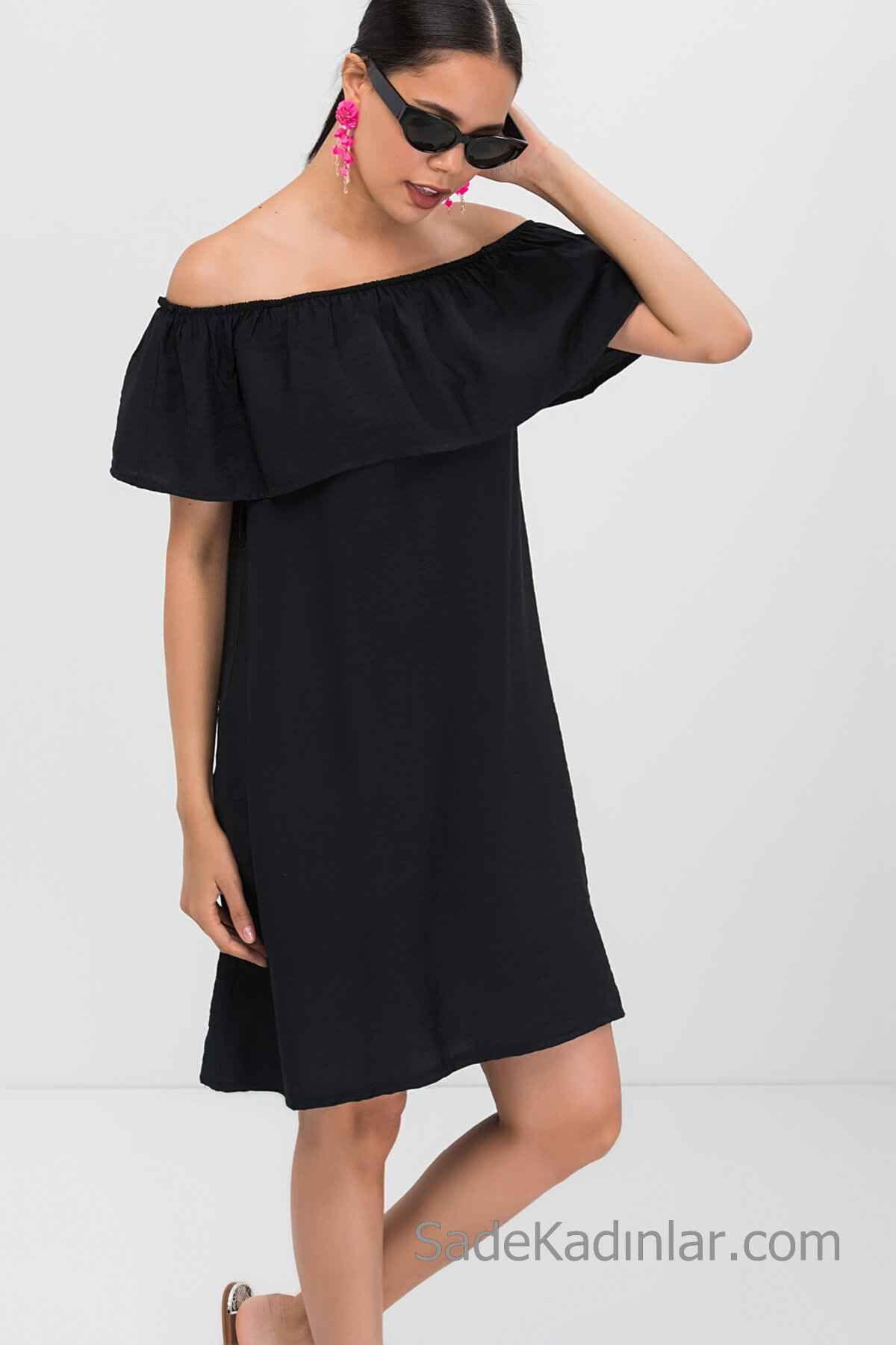 2020 Yaz Icin Gunluk Keten Elbise Modelleri Siyah Kisa Omzu Acik Dusuk Kol Firfirli Yaka Elbise Modelleri Elbise Moda