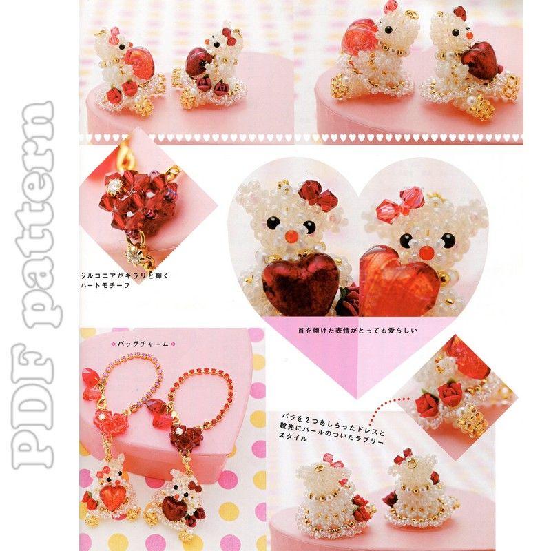 2 Valentines Bears + Heart Bracelet Beading Pattern PDF | CraftyLine e-pattern shop