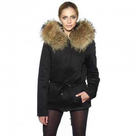 Mantel mit echtfell schwarz