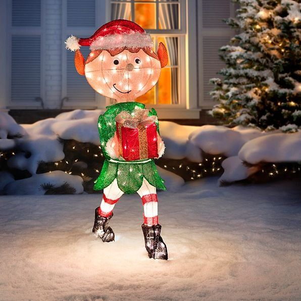 This Animated Elf With Present Lighted Outdoor Christmas Decoration Is Helping T Animated Christmas Decorations Outdoor Christmas Decorations Outdoor Christmas