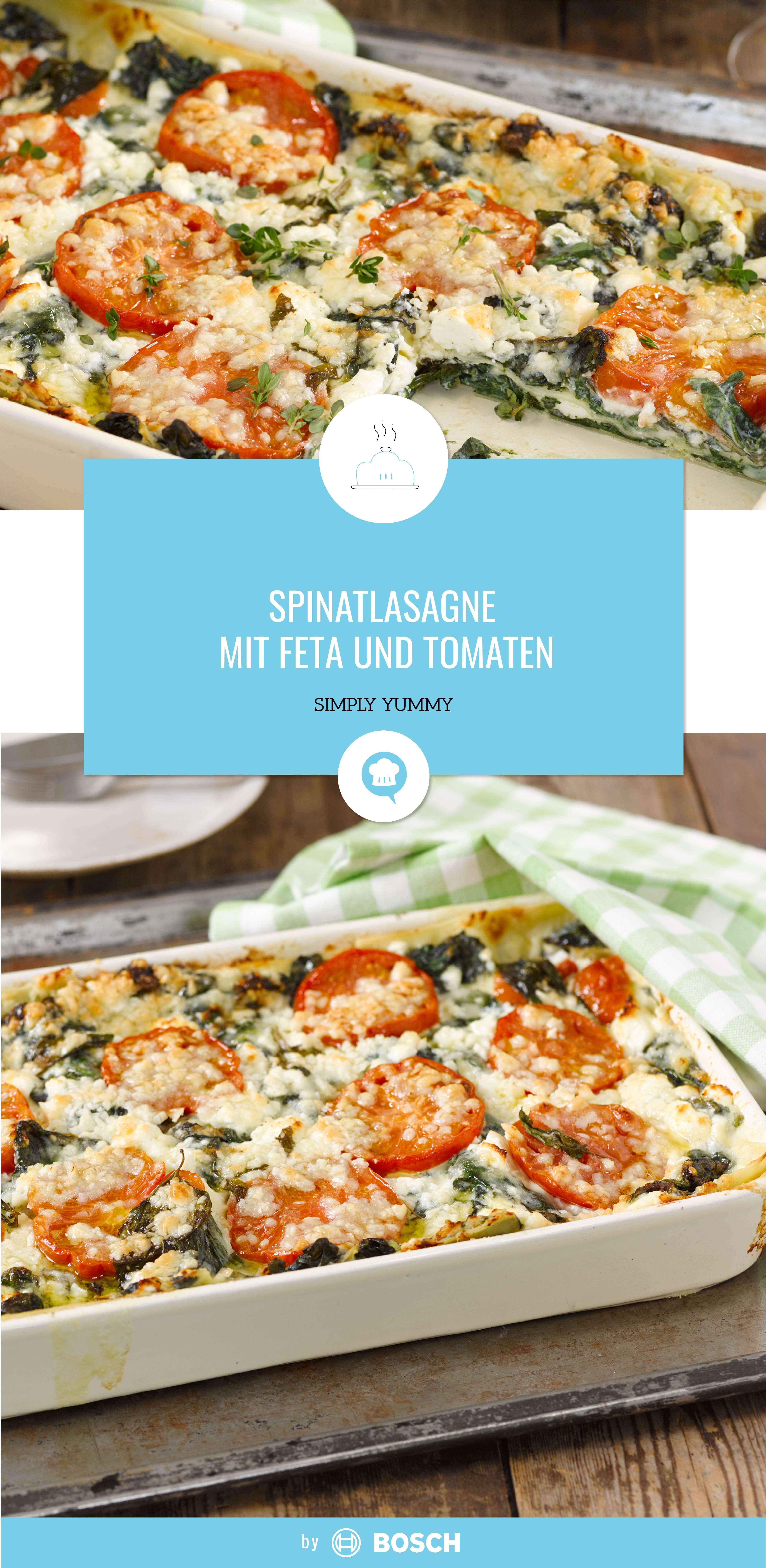 Spinatlasagne mit Feta und Tomaten #veganerezeptemittag