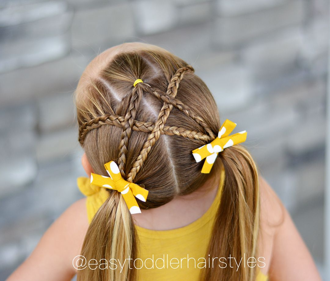 Side Dutch lace braids split middle braid all crossed into high