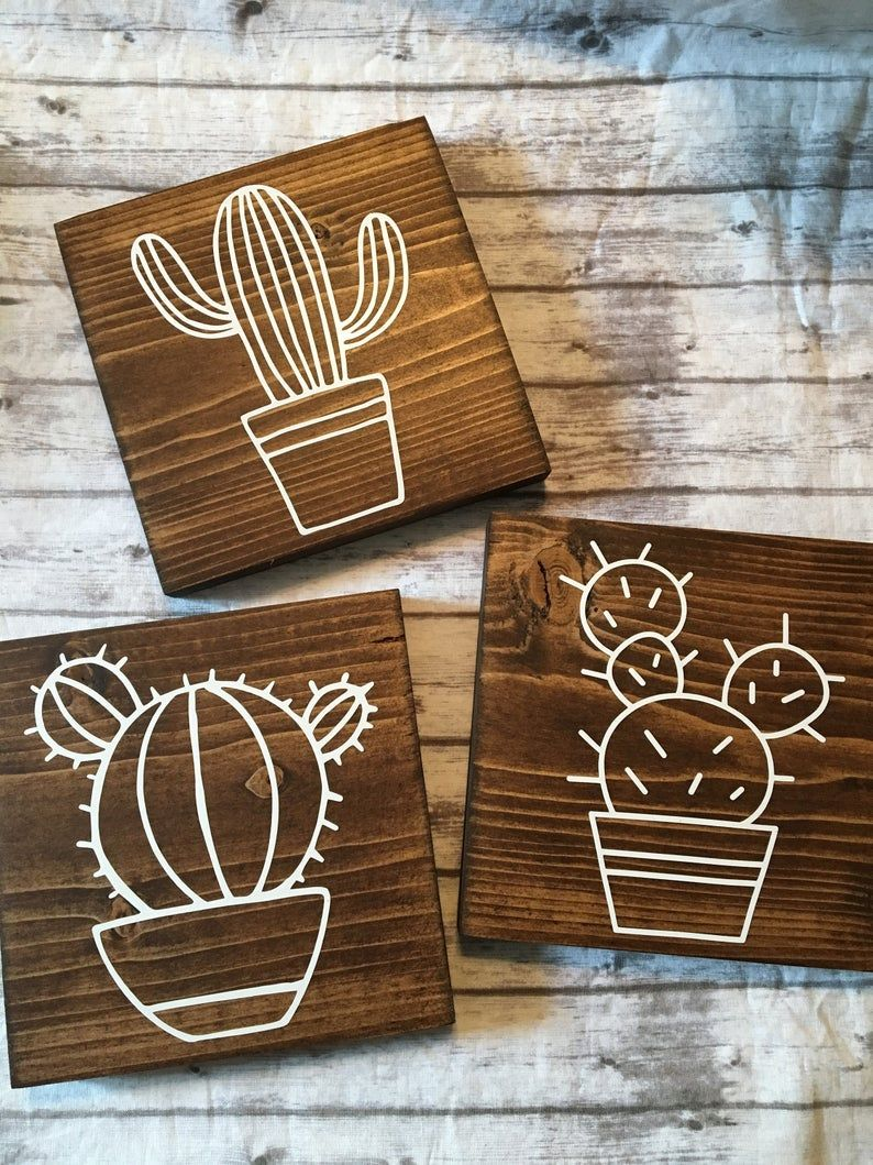 , Cactus Wood Signs 3 piece Cactus Sign Home Decor | Etsy, Crafts To Sell Blog, Crafts To Sell Blog