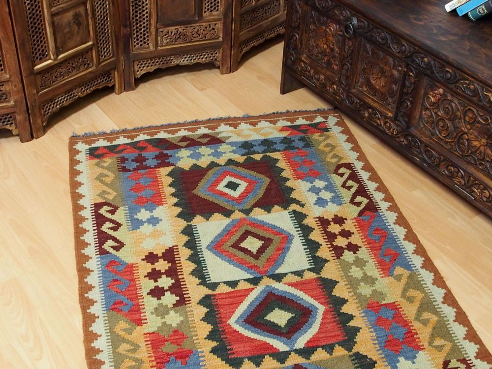 192x100 cm orient Teppich Afghan Turkmen Nomaden Planzenfarbe kelim kilim No:36